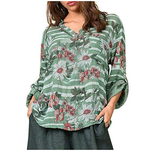 Tooth Damen Tops T-Shirt Sommer Herbst Mode Casual Frauen V-Ausschnitt Langarm Button Foral Printed Loose Bluse Oberseiten(Grün,XXL)
