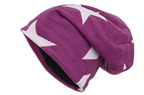 Shenky Beanie Mützen in ausgefallenen Styles und Muster Vintage (one-size, Sterne pink)