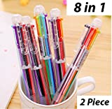 #8: 8 in 1 Retractable Ballpoint Pens, 8 Vivid Colors in Every Pen, Best for Smooth Writing, 2 Piece