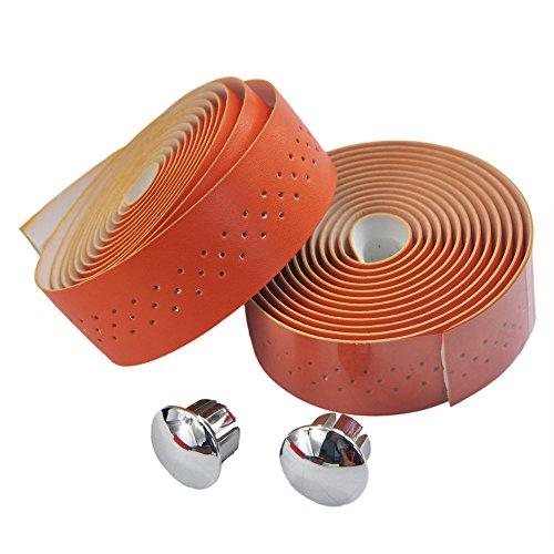 UPANBIKE, Fahrrad-Lenkerband / Lenker-Tape mit luxuriösen Kunstleder-Bandagen mit kleinen Öffnungen, für Rennräder und Fahrräder mit starrem Gang, 2-teiliges Set, Orange