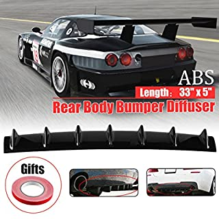 Universal Lower Rear Body Bumper Diffuser Shark Fin Kit PU Spoiler Black 855mm*135mm