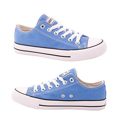 Elara Unisex Sneaker | Bequeme Sportschuhe für Damen und Herren | Low Top Turnschuh Textil Schuhe 36-46 Light Blue