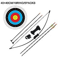 Idea Regalo - Arco da giovincello per bambini all'aperto e set di frecce per bambini Gioco di tiro con l'arco per bambini per il gioco del gioco delle squadre (16LB, 4 ¡Á frecce, 5 ¡Á Target Face)