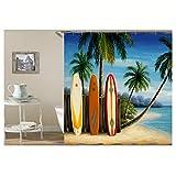 Beydodo Duschvorhang Anti-Schimmel SurfBord Kokospalme Strand 3D Duschvorhang Vintage 150x180 cm