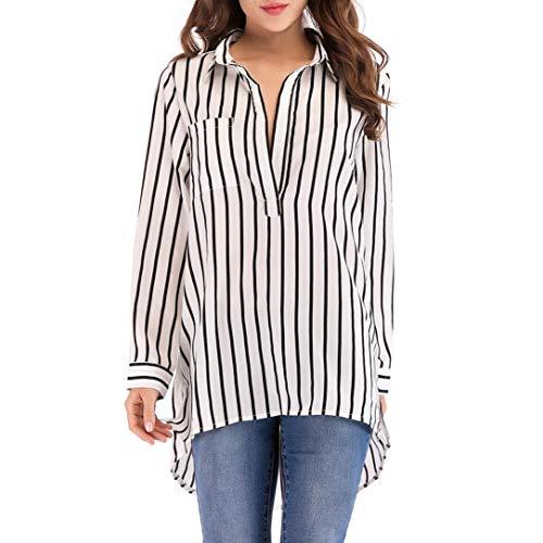 MIRRAY Damen Lässige Plus Size Asymmetrische Tops mit Langen Ärmeln Gestreifte Pocket Bluse Long Shirt