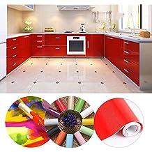 KINLO Vinilo Pegatina Muebles de Cocina, PVC Engomada Autoadhesivo Protege o Decora Armario y Aparatos Eléctricos, Papel Pintado para Muebles/Cocina/Baño,Impermeable Pegatina,0.61*5M/Rollo