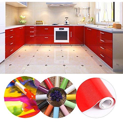 Kinlo 50 61m papier peint auto adhésif rouge pour armoire de cuisine en pvc imperméable style moderne stickers autocollant muraux étanche décoration pour