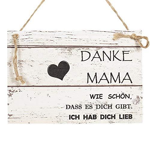 Wand Deko Holzschild mit Spruch im Shabby Chic Vintage Stil (20x29x0,5cm) Danke Mama Ich hab Dich lieb - die Geschenkidee zum Muttertag