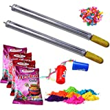 ascension Steel Design Toys Holi Pressure Water Gun Pichkari Tank , 4 Maakhan Makhmali Gulal Natural Herbal Colour and 2 Small Air Horn Pump Trumpet Music Toy for Children (Combo of 2)