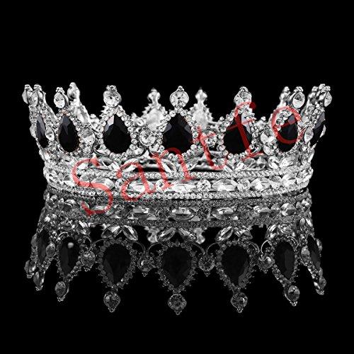 Santfe 2(Reina corona blanco negro Crystal Rhinestone tiaras Pageant novia boda accesorios para el pelo