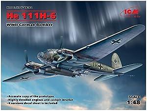 ICM 48262 He 111H-6, WWII - Maqueta de Bombardero alemán, Color Gris