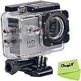 CkeyiN ® 1080P Full HD Impermeable Cámara de Acción Deportiva con Pantalla LCD de 2.0 Pulgadas (Plata)