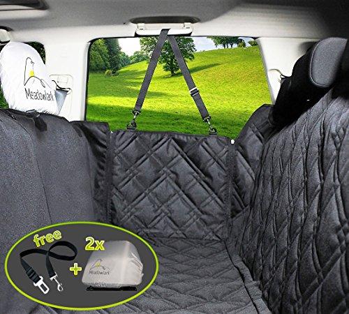 Hundedecke Auto für Rückbank. Wasserdicht! Komplettschutz - Comfort Hundedecke fürs Auto, robuste Reissverschlüsse für Seitenklappen zum Schutz der Türen, für Kopfstützen & Rücksitze. Wasserfeste Schondecke, ideale Autodecke für Haustiere, optimaler Sitzbezug. TOP-Qualität! Auf dem Rücksitz teilbar durch Reissverschluss. Mit der Decke für Hunde gibt es einen Sitzgurt & 2 Schonbezüge für Kopfstützen gratis! (Auto-hund-decke)
