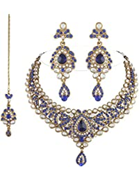 I Jewels Traditional Gold Plated Kundan Necklace Set With Maang Tikka For Women(K7036Bl)