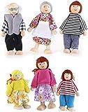 NUOLUX 6Pcs Family Dolls Playset Wooden Figures Set for Children House Pretend Gift Random Color