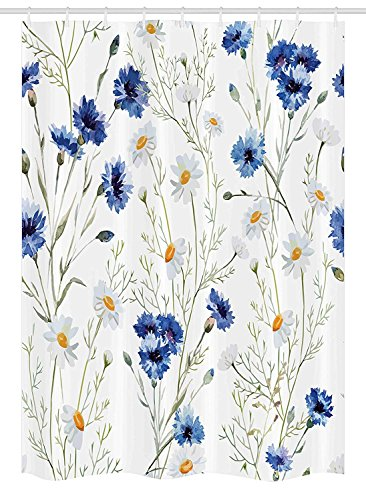 Jolly2T Watercolor Flower Stall Shower Curtain, Wildflowers and Cornflowers Daisies Blooms Flower Buds, Fabric Bathroom Decor Set with Hooks, 60 x 72 Inches, Blue Sage Green Marigold Cornflower Blue Liner