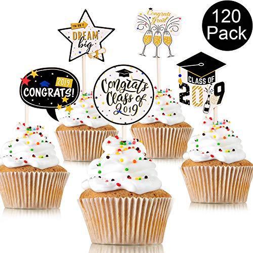 Graduierung Cupcake Toppers Graduate Food und Vorspeise Dekoration 2019 Kappe Graduation Picks für Mini Cake, 6 Arten Kuchen Dekoration für Abschluss Party Dekoration Lieferungen ()