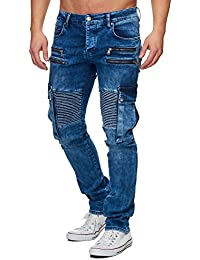 Tazzio Slim Fit Herren biker Look Stretch Jeans Hose Denim 16529