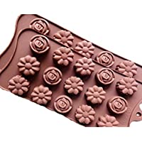 2x Pack Pralinenform - Hochwertige Silikonformen für Schoko-Pralinen, Gummibärchen, Eis - Rosen/Blumen Motiv