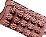 Form2Go 2X Pack Pralinenform - Hochwertige Silikonformen für Schoko-Pralinen, Gummibärchen, EIS - Rosen/Blumen Motiv