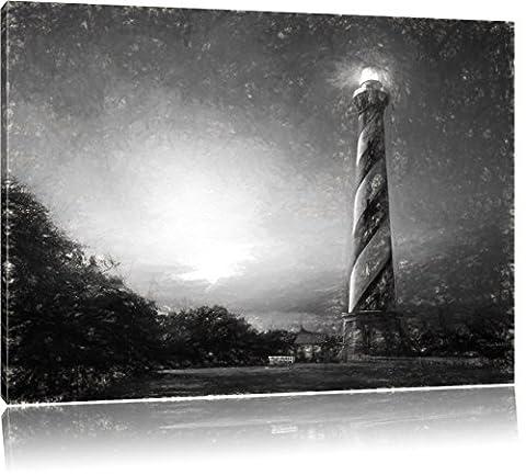 Cape Hatteras Leuchttum Kunst Kohle Effekt, Format: 100x70 auf Leinwand, XXL riesige Bilder fertig gerahmt mit Keilrahmen, Kunstdruck auf Wandbild mit Rahmen, günstiger als Gemälde oder Ölbild, kein Poster oder Plakat