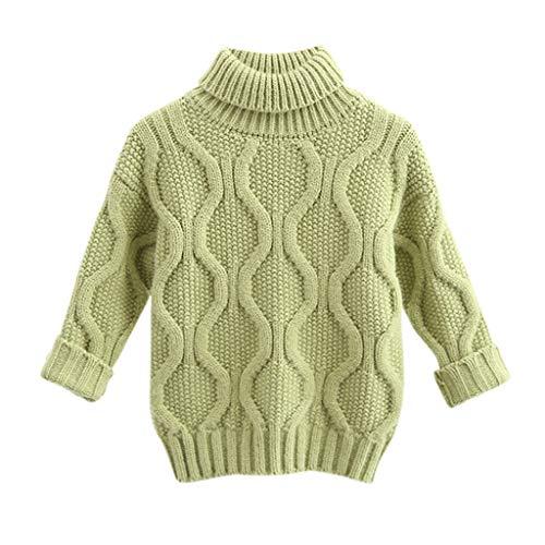 Livoral Kleinkind Kinder Baby Jungen Mädchen Feste Warme Pullover Winter Strickpullover Tops Kleidung(Grün,3-4 Jahre)