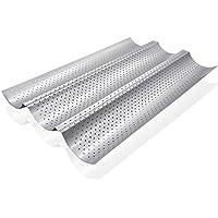 GOURMEO plaque de cuisson pour baguette (38 x 24,5 cm) pour 3 baguettes avec revêtement antiadhésif en gris argent forme baguette, plaque pour baguette