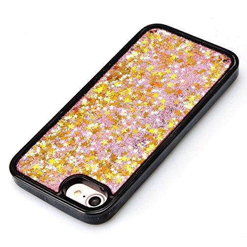 Coque Sparkle Paillette Case pour iPhone 7 (4.7 pouces),Sunroyal Glitter Liquide Sables Mouvant 3D Flowing Briller Sparkles Diamant Etui Housse Soft TPU Silicone Dual Layer Transparent Skin flux Sable Or