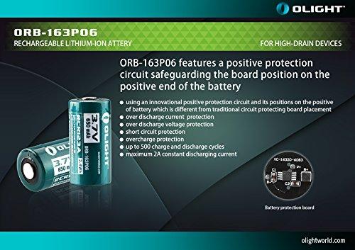 Olight® 16340 RCR123A Akkus Lithium-ion wiederaufladbar Batterie 3.7V 650mAh - 2-er Pack (original und geschützt) - 6