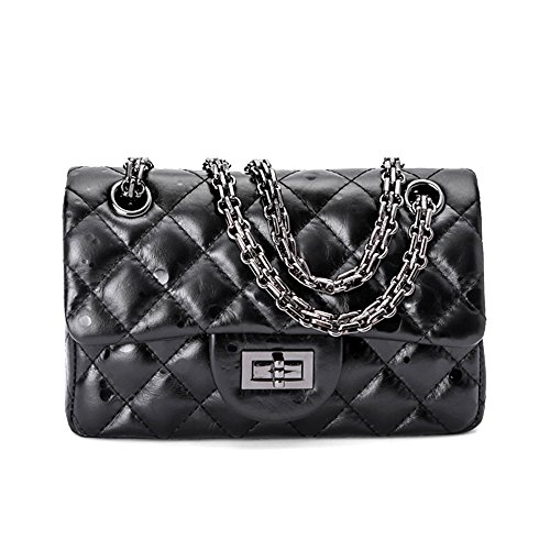 Damen Designer Kleine Schwarze Tasche mit Kette Handtaschen Lammfell Damen Crossbody Leder Gesteppte Umhängetasche (20cm/7.9'')