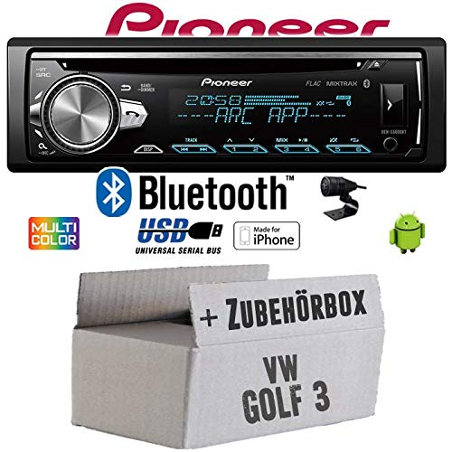 VW Golf 3 III - Autoradio Radio Pioneer DEH-S5000BT - Bluetooth | CD | MP3 | USB | Android | iPhone 12V Radiopaket Einbauzubehör - Einbauset