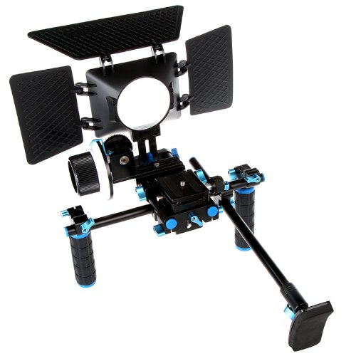 Commlite DSLR Video Rig Bracket+Matte Box Sunshade+Adjust Platform 15mm Rod Rail Video Movie Kit Combination For DSLR 5DII 60D D90 550D 600D 5D2 GH2 D7000