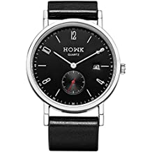 HOWK All Black Unisex Minimalist Quartz Watch Ultra Thin with Arabic Numbers Design and Leather Strap