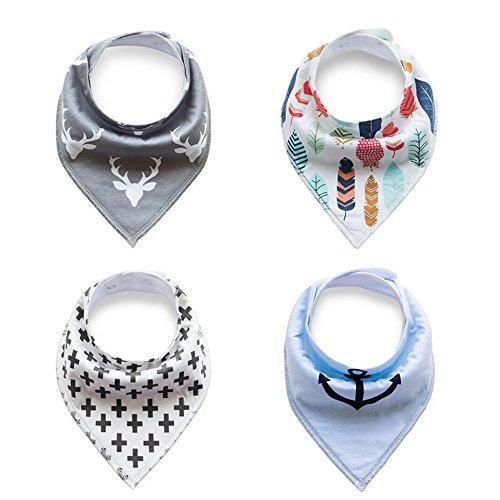 4er Pack Baby Dreieckstuch Lätzchen Spucktuch für Jungen, Einstellbar Weiche Baumwolle Kerchief mit Druckknöpfen (Hirsch / Anker / Blatt / Pluszeichen)