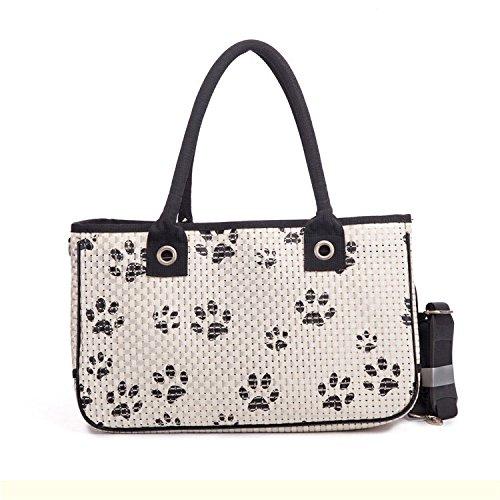 Tom Clovers Pet Carrier Streifen Haustiere Hund und Katze Handtasche für Kleintiere Taschen für Spazierengehen Wandern und Reisen Weiß (Tragetaschen Hund Carrier)