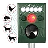 Wikomo Ultrasonic Solar Powered Pest Repeller,Waterproof Outdoor Animal Repeller with Ultrasonic sound,LED Flashing