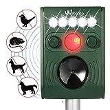Solar Tiervertreiber Katzenschreck Ultraschall Solarbetriebener Schädlingsbekämpfer, imprägnieren Sie im Freien Tiervertreiber mit Ultraschall, LED Blinklicht und Bewegungs-Sensor für Katzen, Hunde, Eichhörnchen, Molen, Ratten usw.