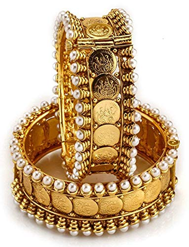 Shining Diva Fashion Latest Traditional Design Gold Plated Bangles for Women (Golden)