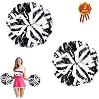 AUHOTA 2 Piezas Cheerleading Pompones de Animadora Pompón, Plástico de Animadora para Equipo de Deporte Animador de Espíritu Bola Danza Lujoso Vestido Noche Partido (6 Pulgada, Negro/Blanco)