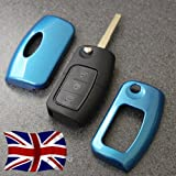 Blue Key Cover for Ford Remote Flip Key Fob Case Protector 2 3 Button nfrd Fiesta Focus Mondeo C-Max S-Max Galaxy Kuga Zetec S TDCI Titanium X Style Plus Ghia Studio Climate Edge LX ST RS Powershift (Diamond Blue)