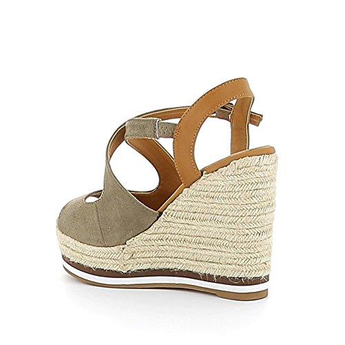 Sandale compensée en suédine Kaki