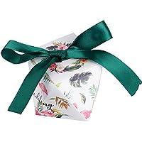 50piezas(5.5*5.5*6cm) Cajas de Boda Bautizo Regalo Caramelos Bombones Chuches Peladillas Recuerdo Fiesta Cumpleaños Flamenco y Hoja Tropical impreso + Cinta