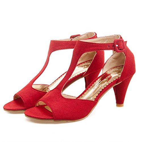 Aisun Damen Elegant Offene Zehen Trichterabsatz Peep-Toe Sandalen Rot