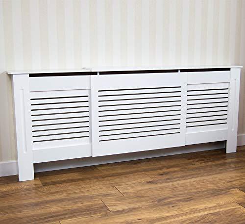 Vida Designs Milton Erweiterbare Heizkörperverkleidung, Schutz, mit Regalablage, Gittermuster, Modern, Weiß von Vida Designs
