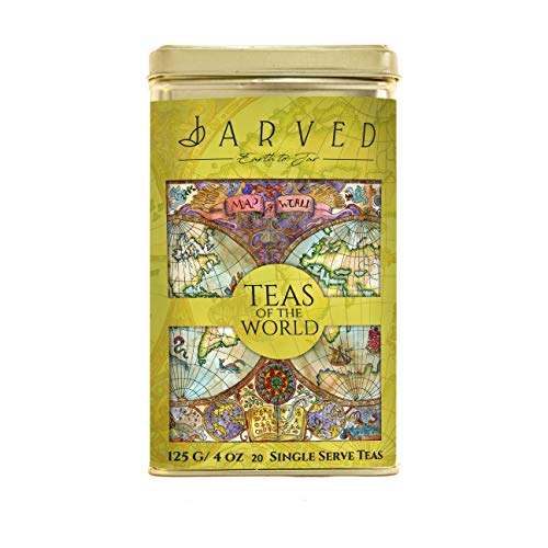 Jarved Teas of The World Assorted Gift Box Set - 15 Types of Exotic Teas from 10 Countries  15 Loose Leaf Teas in Recyclable Tin Box  Unique Tea Gifts for Men, Women, Anniversary, Birthday,