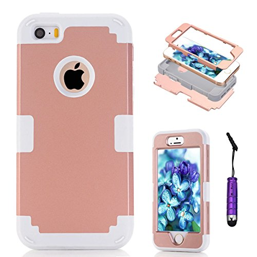 Apple iPhone 5 5s Coque, Moonmini® Ultra mince protection antichoc Combo Goutte protection Case Coque Housse Etui  pour Apple iPhone 5 5s, Rose Gold + blanc