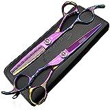 sharonds violett Linkshänder Schere Friseurschere für Japan 440 C-Stahl Modellierung Werkzeug