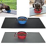 hochwertige Napfunterlage / Futtermatte in schwarz und grau + GRATIS faltbarer Napf, Fressnapf, Reisenapf. Garantiert sauberer Fressplatz für Hund und Katze