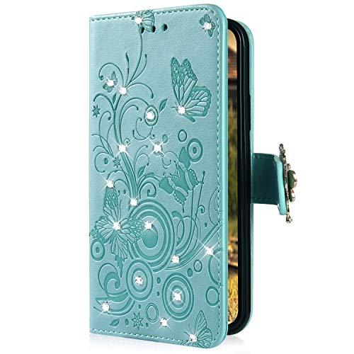 Uposao Kompatibel mit Samsung Galaxy M30 Handyhülle Schmetterling Blumen Muster Luxus Bling Glitzer Leder Wallet Schutzhülle Brieftasche Leder Hülle Klapphülle Brieftasche Tasche,Grün