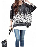 309Black Bohemian Hippie Big Size Batwing Sleeve Chiffon Blouse Loose Off Shoulder Shirt Top By BetterMore Store